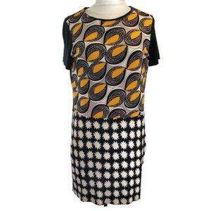 DVF Silk Yuta Dress Black Yellow Flowy Shift 10